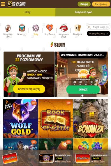 Bob Casino iOS & Android tablecie