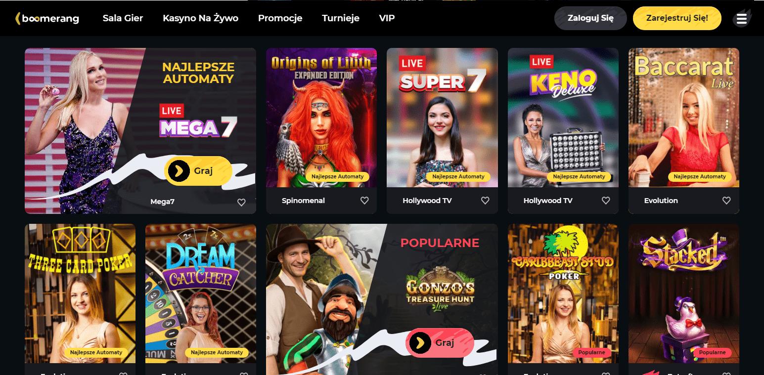 Boomerang Casino Gry