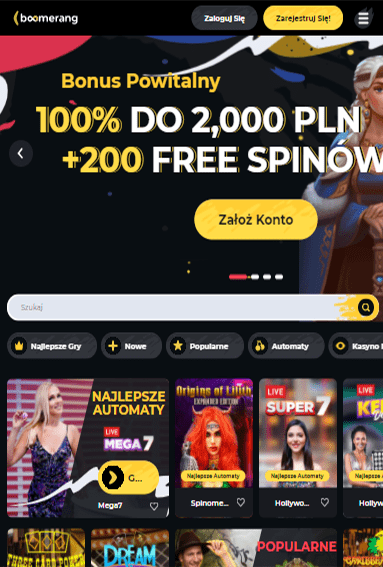 Boomerang Casino iOS & Android tablecie