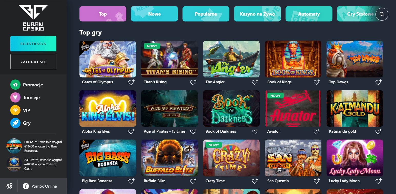 Buran Casino Gry