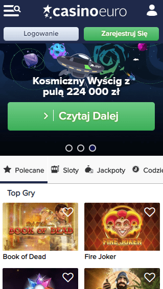 CasinoEuro iOS & Android mobile