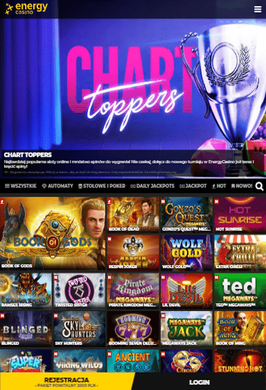 EnergyCasino iOS & Android tablecie