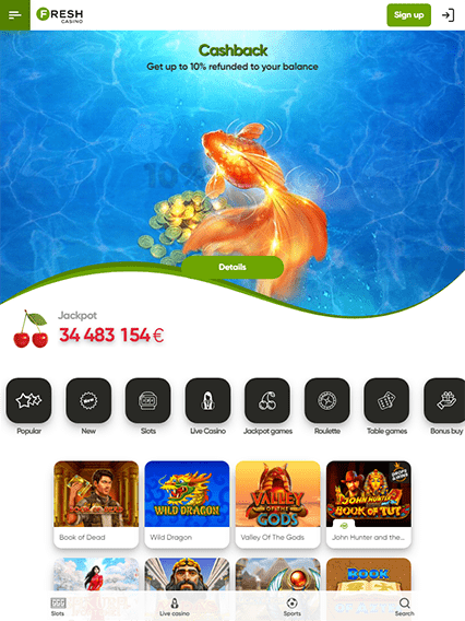 Fresh Casino iOS & Android tablecie