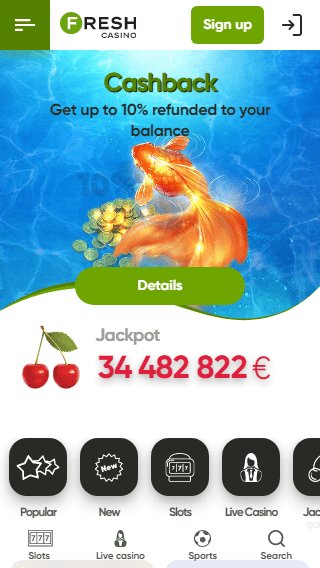 Fresh Casino iOS & Android mobile