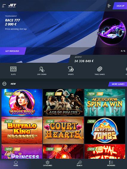Jet Casino iOS & Android tablecie