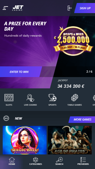 Jet Casino iOS & Android mobile