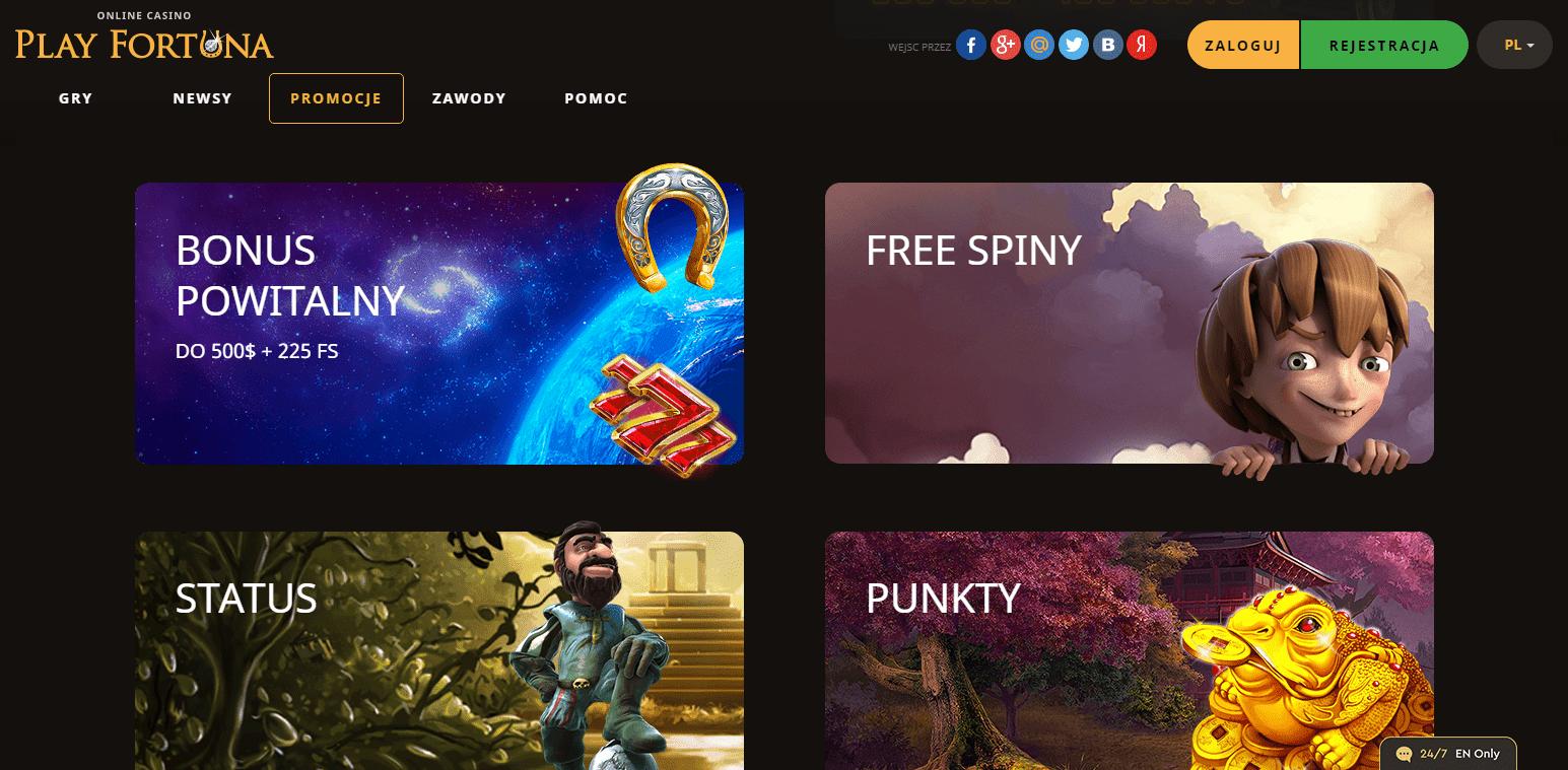 Darmowe spiny i Bonusy w Play Fortuna Casino