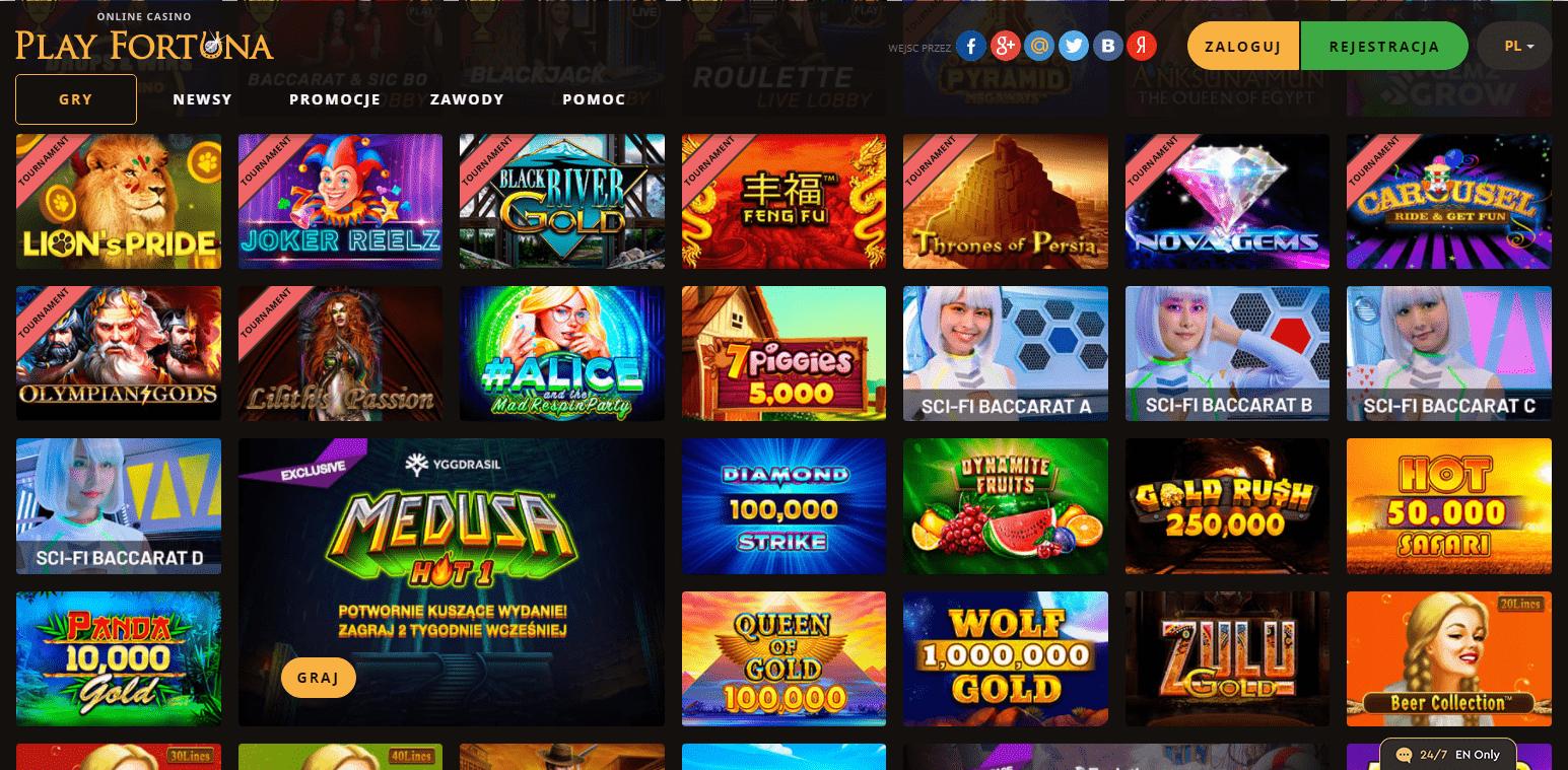 Wideo sloty w Play Fortuna Casino