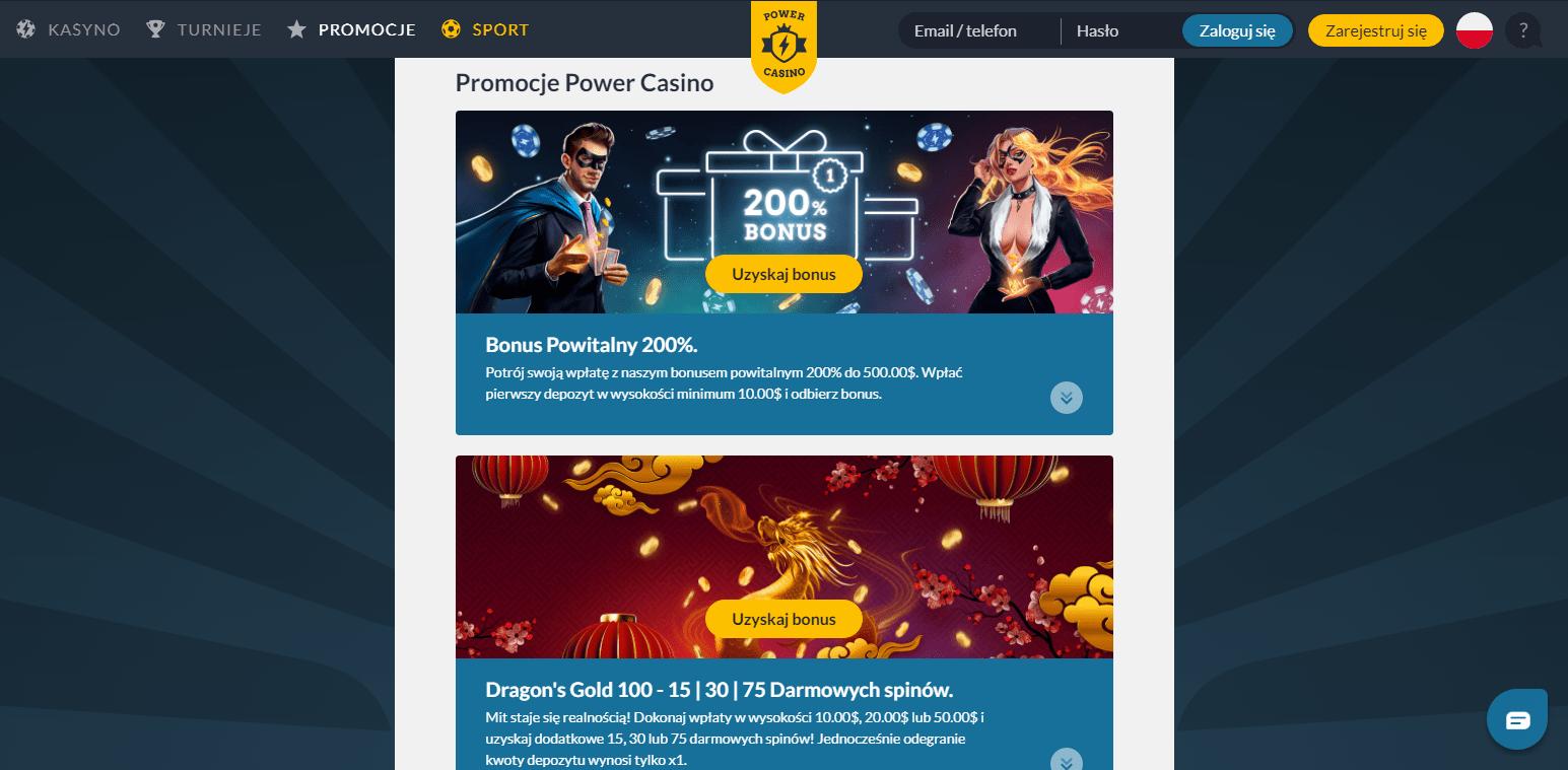 Darmowe spiny i Bonusy w Power Casino