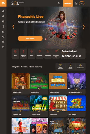 Sol Casino iOS & Android tablecie
