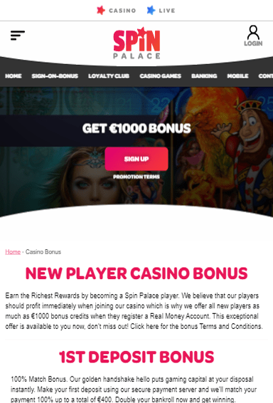 Spin Casino iOS & Android tablecie