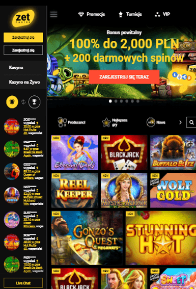 Zet Casino iOS & Android tablecie